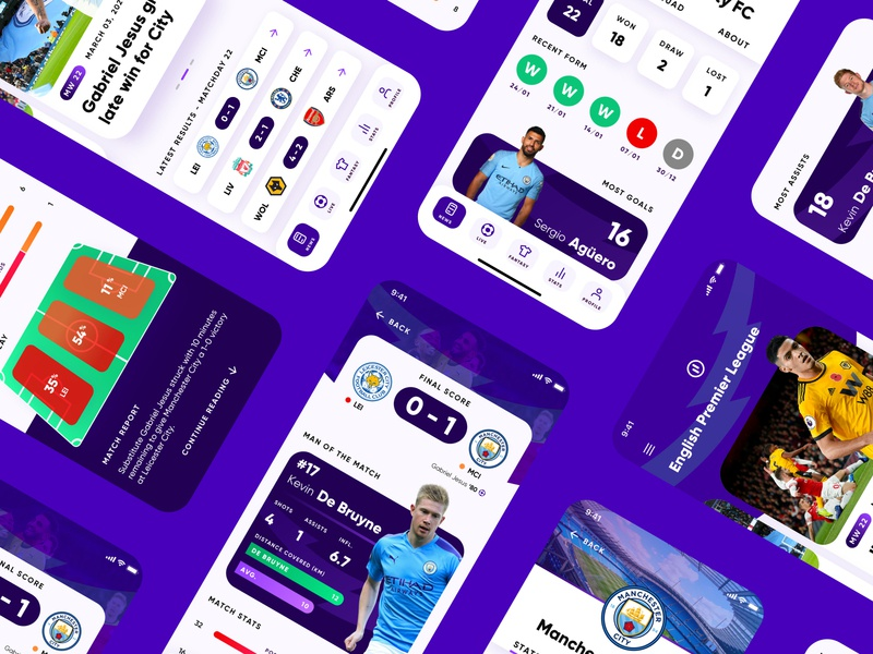 Sports App - Soccer Scores and Statistics sports product design invision studio premier league soccer app player heat map score statistics blue football app soccer football