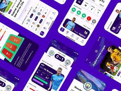 Sports App - Soccer Scores and Statistics sports product design invision studio premier league soccer app player heat map score statistics blue football app soccer football