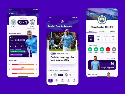 Sports App - Soccer Scores and Statistics product design invision studio sports design city manchester analytics statistics team football soccer sports