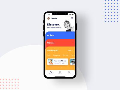 Discover | New Music App tickets explore music player minimal orange red iphone x apple pandora spotify dashboard ui card blue audio animation illustration app music app music