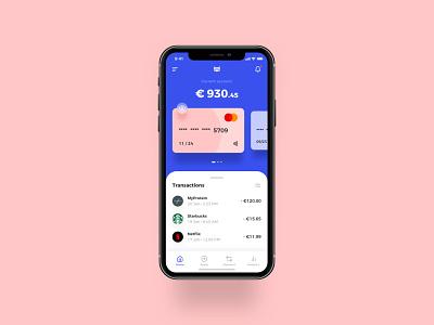 Banking / Finance App (Bank of Ireland) iphone x transaction card credit card blue pink ui business finance fintech fintech app banking app banking