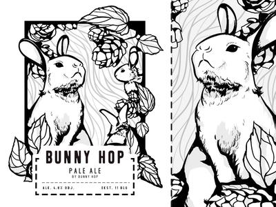 Bunny Hop - beer label illustration