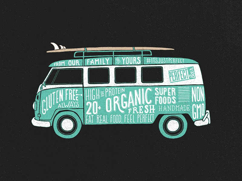 Health Mobile surf volkswagon van lettering illustration