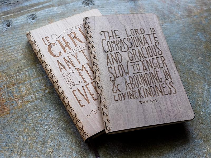 Laser Etched Wood Journals laser engraving laser etching hand lettering