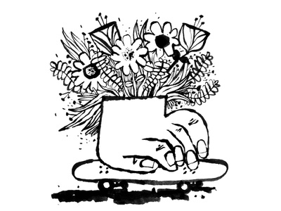 Hand planter skateboard sketch ink daily doodle
