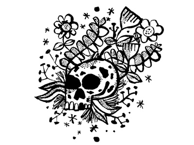 Skull with Flowers skulls sketch ink daily doodle