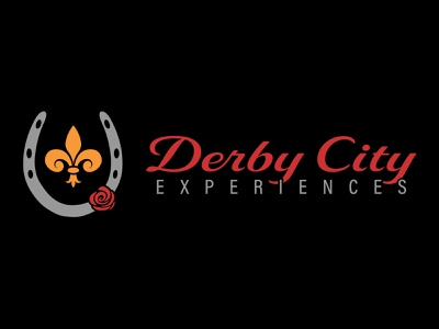 Derby City Experiences logo hospitality tourism kentucky louisville fleur de lis rose horse horseshoe derby illustration design icon vector simple logo clean branding brand