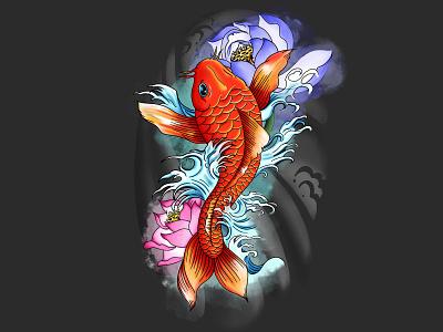 KoiFish procreate tattoo lotus koi fish illustration