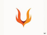 Letter V Fire Logo