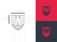 2000 Bird Shield Logo - Red and Grey