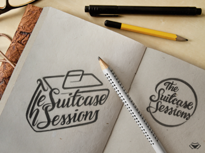 The Suitcase Sessions Logo Sketches italic cursive letters typography logo lettering artist lettering suitcase logo work in progress pencil drawing logotype design logotype designer letter typography corporate icon modern design logo logotype
