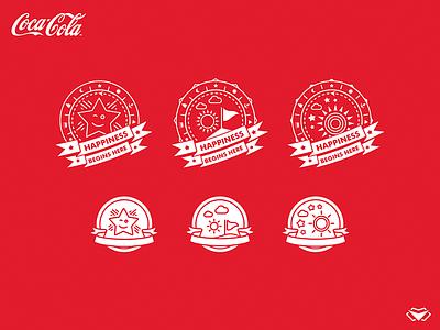 Coca Cola App Design - Final Badges - Two Versions ui ux app cocacola badge design star red simple flat modern illustration badges icon design icon set icon badge logo badge