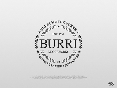 BURRI Motorworks Logo logo mark luxurious elegant circle circular logo vintage vintage badge vitage logo auto shop logo car shop logo car logo automotive design automotive logo business corporate icon modern logo design logotype