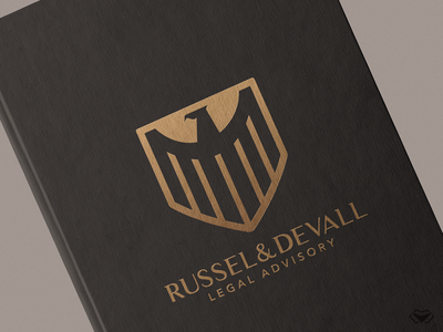 Russel & Devall - Legal Advisory Logo & Branding logo designer minimalistic logo simple logo eagle logo legal shield logo gold logo bird logo classy elegant branding business corporate icon modern design logo logotype