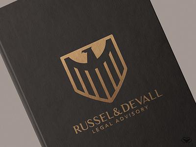 Russel & Devall - Legal Advisory Logo & Branding logo designer minimalistic logo simple logo eagle logo legal shield logo gold logo bird logo classy elegant branding business corporate icon modern design logo logotype