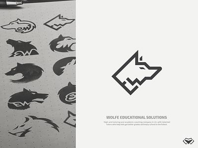 Ernest Wolfe - Wolfe Educational Solutions Logo logo mark ew initials sketches sketch ew logo ew monogram w letter logo e w logo e w logo wolves wolf wolf logo classy monogram business corporate icon modern design logotype logo