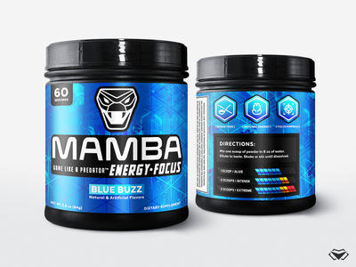 Mamba Energy Blue Buzz - Product Label icon logotype logo design logo mark supplement bottle supplement jar metalic label metalic blue label gaming corporate label design supplement label design energy drink product design branding design modern