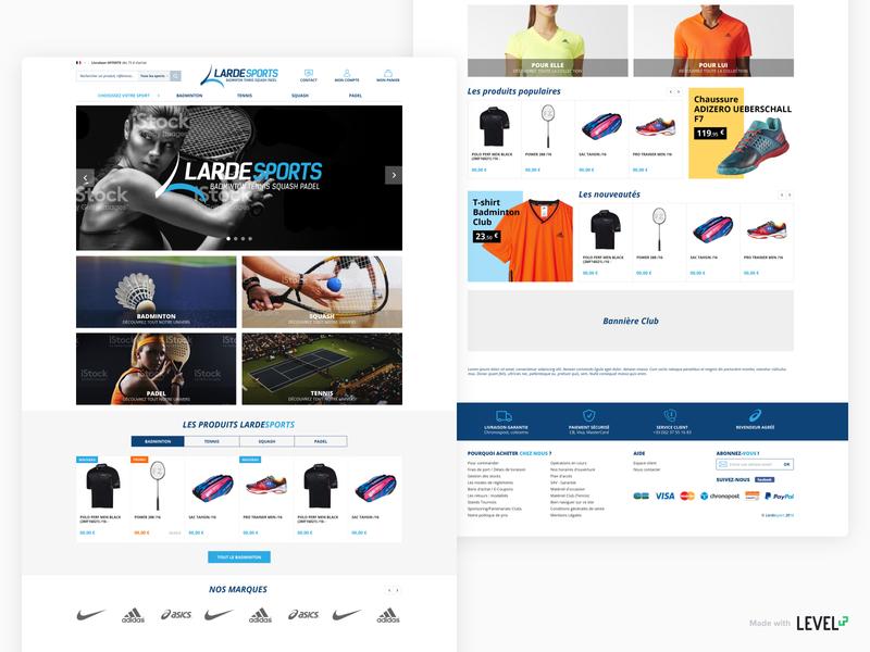 Lardesports - e-commerce website 1/3 category page homepage webdesign ecommerce design magento