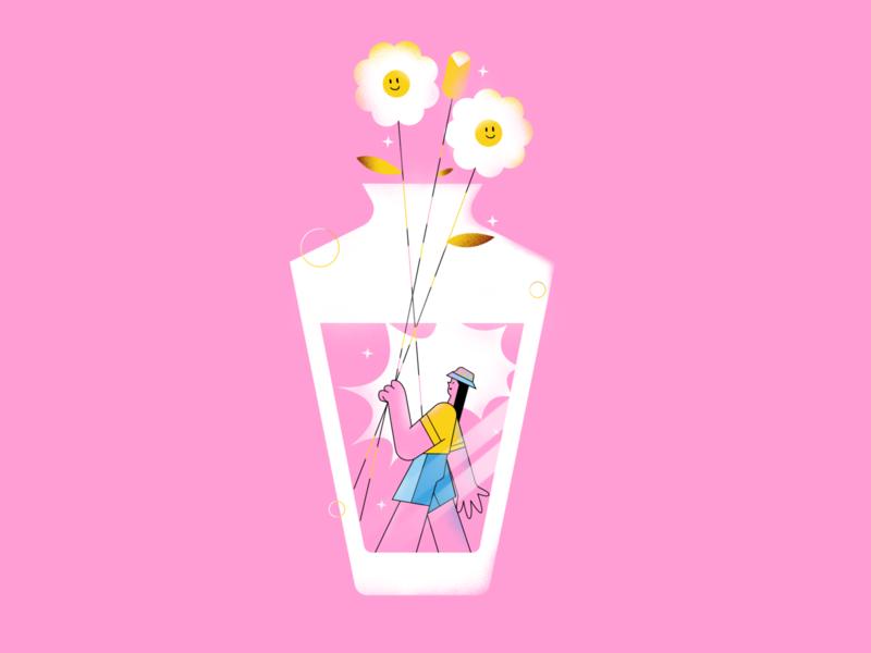 Daisy summertime summer shining stars decoration jardin jars fleur flowers editorial illustration editorial girl character design colorfull drawing vector flat illustration digitalart