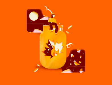 Otoño nature jars autumn leaves leaves bioguss stars editorial illustration design illustrator girl character procreate art colorfull drawing editorial vector flat illustration digitalart autum otoño