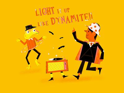 Dance dynamite magic music art dancers frog spooky bts drawlloween halloween editorial illustration procreate art colorfull drawing editorial vector flat illustration digitalart