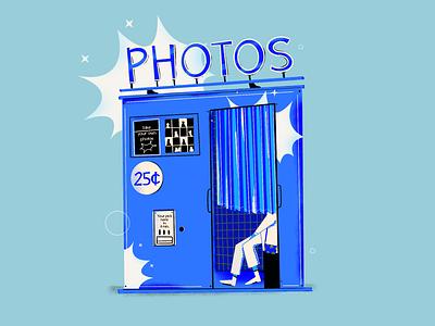 Photos places fotografia fotoautomat photography photos girl character editorial illustration procreate art colorfull drawing editorial vector flat illustration digitalart