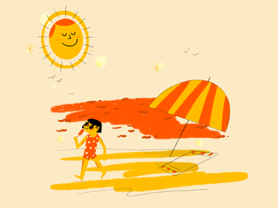 🌞 happiness happy icecream beach waves sunrise sun sunglasses illustrator girl character editorial illustration procreate art colorfull drawing editorial flat illustration digitalart