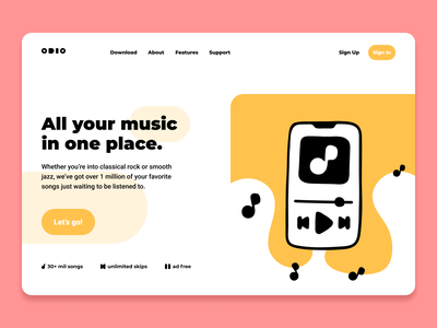 Odio Landing Page icons illustrator rosek music streaming stream music audio website illustration uidesign figma ui landing page
