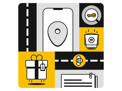 Delivery Illustration food rosek documents bee road gift location pin pin phone vector illustration vector illustration figmadesign figma