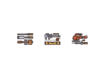 Wood Work Tools electric saw level ruler caliper chisel hammer measurement wood tools illustration illustrator icon