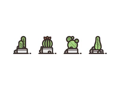 Cactus Plants rosek rocks stone decoration plants cactus illustration icon