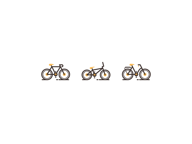 Bicycle Icons line icons rosek seat frame wheels flat bicycle bike line illustration icon