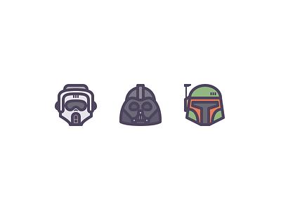 Star Wars Avatars line icons scout trooper boba fett darth vader star wars rosek illustration vector icons