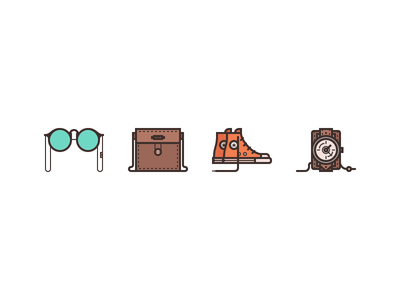 Men's Accessories Icons vector illustration rosek line icons line man purse ray-ban glasses converse shoes purse watch icon