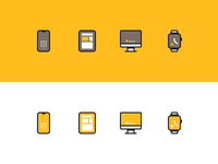 Apple Devices Icon Set rosek ui apple watch imac ipad iphone smartwatch watch computer tablet phone line icons line apple icons vector icons vector icon design icon devices apple