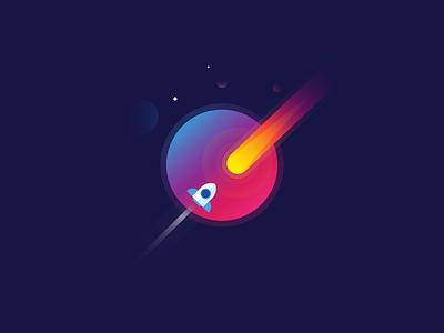 rocket shot stars sunsets planet galaxy space illustration rocket earth