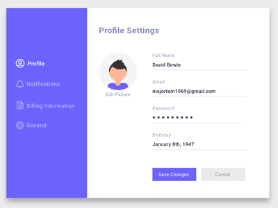 Settings - Daily UI 007 profile settings settings daily ui