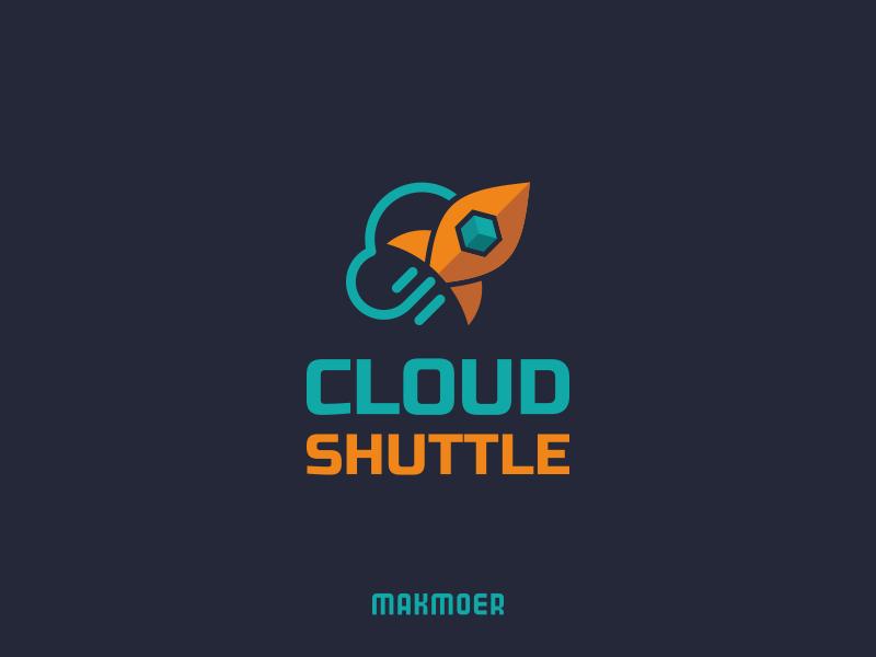 Cloud Shuttle logo clean rocket cloud flat  design minimal simple logo