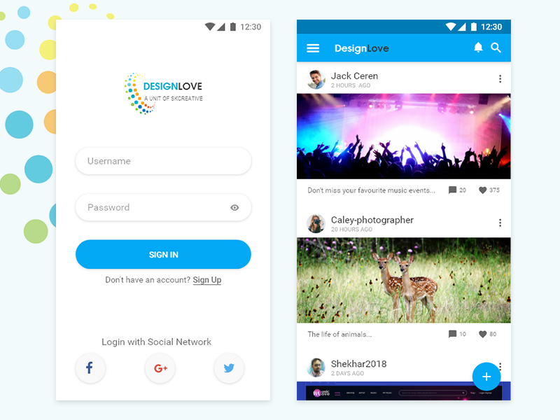 Designlove-Sign-in and Dashboard page dashboard sign-in social media app