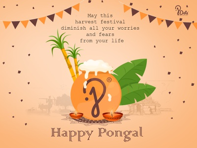 Happy Pongal ux socialmedia digital marketing banner design festival poster logo deisgn designer vectorart brand illustration branding graphic design