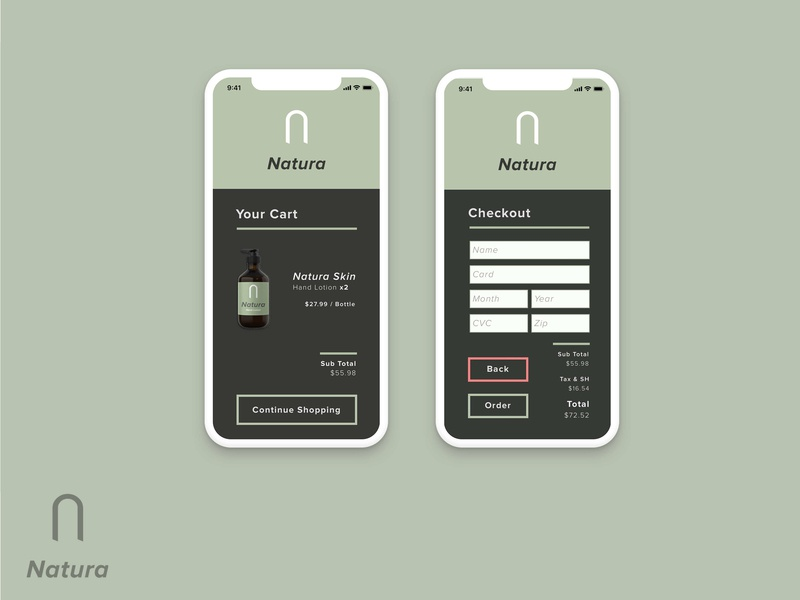 Natura | Cart & Checkout flat app branding vector ux checkout form checkout ecommerce cart shopping cart app concept iphone x ios app design logo icon dailyui design ui ui design