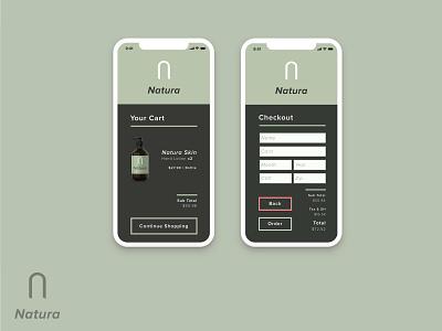 Natura | Cart & Checkout flat app branding vector ux checkout form checkout ecommerce cart shopping cart app concept iphone x ios app design logo icon dailyui design ui ui design