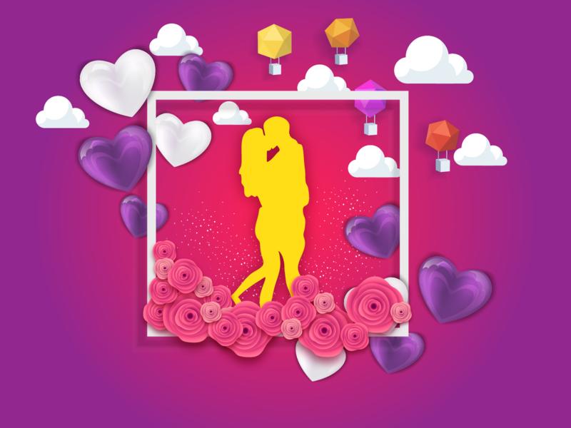 Valentine Card Design valentine card visual art visual couple heart love birds love illustration valentine vector design