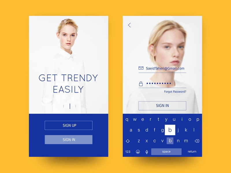 Fashion Showcase App Sign Up/In app sign-in login daily100 white blue minimal fashion ui signup dailyui 001