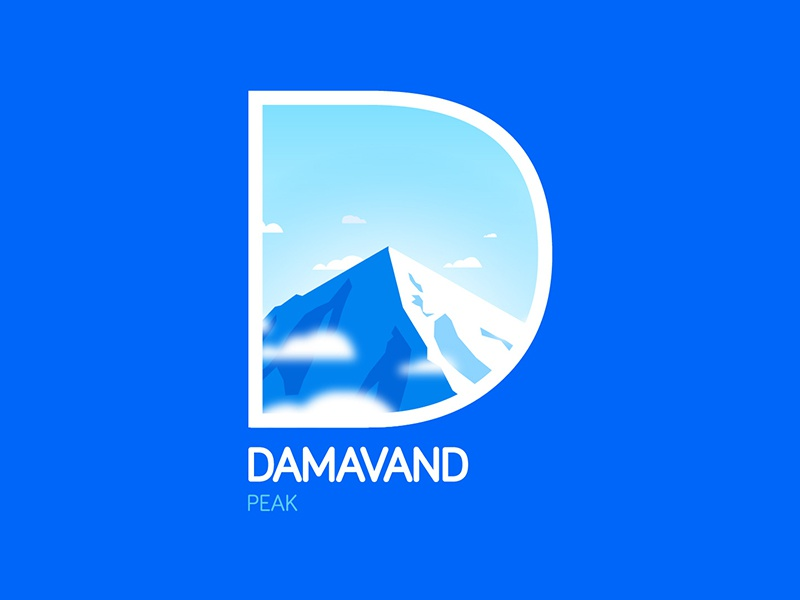 Damavand Peak brand style branding sign sky blue logo peak damavand