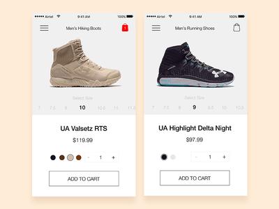 Shoe App Product Page daily ui app design ui ux ios clean simple store e-commerce product shoes cart app