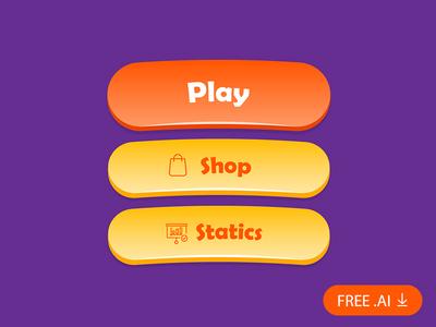 Free Game Button Kit freebie free kit free download ui kit download ui statics interface icon gui game button