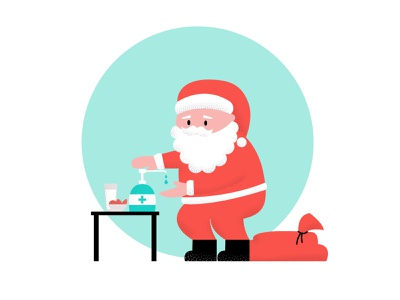 Santa VS COVID19 vector flat illustration xmas hood bag cookies milk sanitizer sanitation covid christmas santa claus santaclaus santa clause