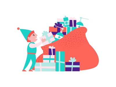 Christmas 2020 vector flat illustration sanitation sanitizer red hood gifts bag elf christmas