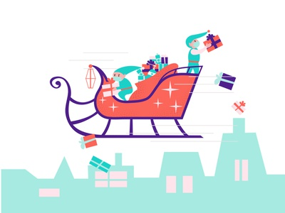 Contactless Christmas delivery 2020 party eve night gifts social distance distancing contactless delivery xmas christmas elf santaclaus santa sledge vector illustration flat